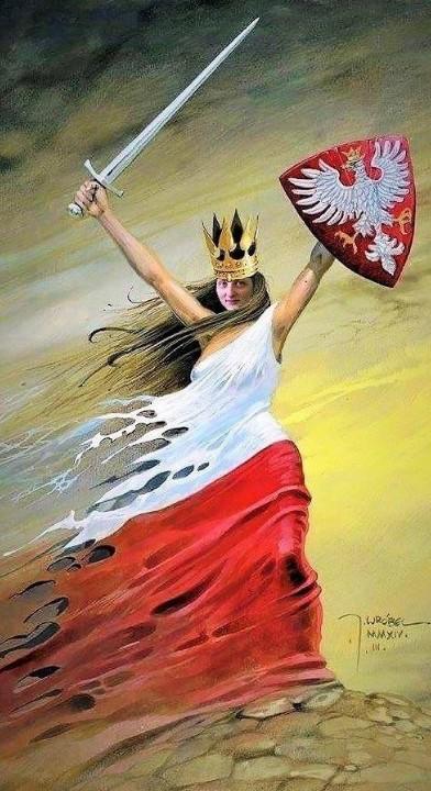 Polska  dziewoja z szabla i tarcza orla