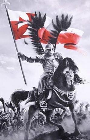 Husar na koniu z choragwia