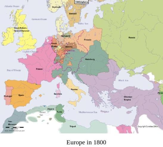 Map of Europe in 1800