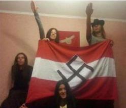 Ukrainian nazis show swastica flag