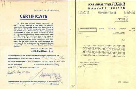 Haavara Agreement Certificate