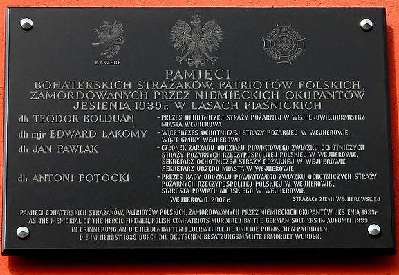 Plaque for Wejherowo firefighters which were killed by Nazis