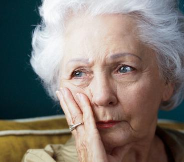 Elderly lonely woman