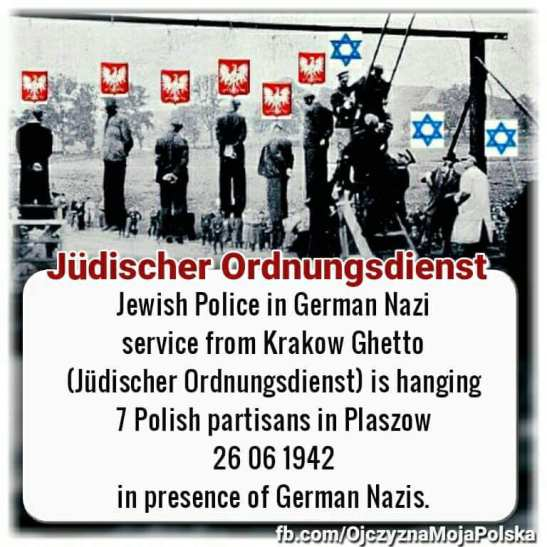 Jewish gestapo hangs Polish partisans