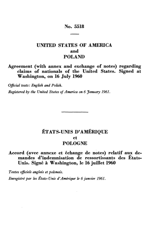 Indemnification Clause of the 1960 Treaty between Poland and the USA.