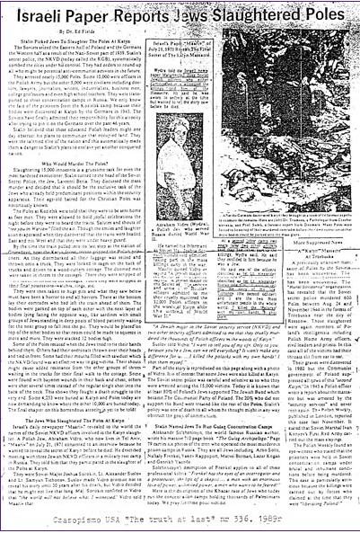 Jews slaughtered Poles in Katyn