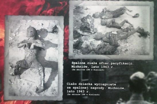 Spalone ciala przez Niemcow- Michniow