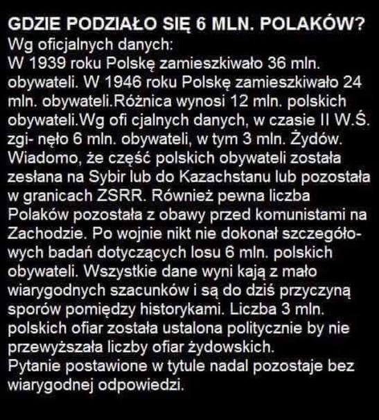Gdzie podzialo sie 6 mln Polakow